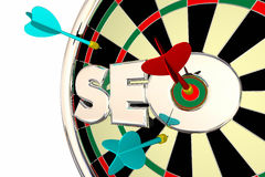 SEO Search Engine Optimization Dart bräde Arkivbild