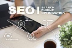 SEO. Search Engine optimization. Digital online marketing andInetrmet technology concept. royalty free stock photo