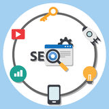 SEO Search engine optimization flat design infographic element Royalty Free Stock Images