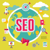 SEO (Search Engine Optimization) in Flat Design Style Royalty Free Stock Photography