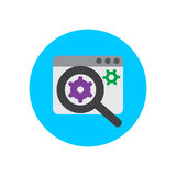 SEO, Search engine optimization flat icon. Round colorful button, circular vector sign, logo illustration. Stock Images