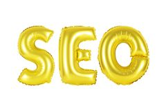 Seo, search engine optimization, gold color. Gold alphabet balloons, SEO, search engine optimization, Gold number and letter balloon Stock Images