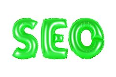 Seo, search engine optimization, green color. SEO, search engine optimization, green number and letter balloon Royalty Free Stock Image