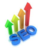 SEO - Search Engine Optimization is growing. 3D image royalty free illustration