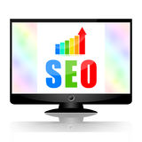 Seo. Search engine optimization and growing business stats on computer monitor screen  on white background Stock Images