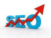 SEO - Search Engine Optimization is growing. 3D RENDERING Royalty Free Stock Photo