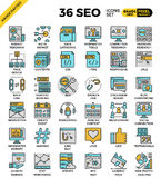 SEO - search engine optimization icons. SEO - search engine optimization, outline icons concept in modern style for web or print illustration Royalty Free Stock Photography
