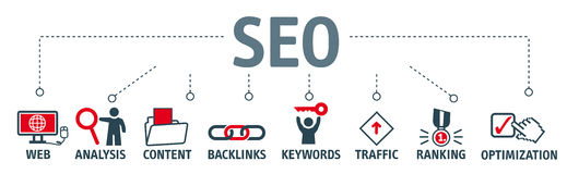 SEO search engine optimization  illustration. Banner SEO search engine optimization concept. Keywords and pictograms Stock Images
