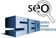 SEO search engine optimization magnifying glass Royalty Free Stock Photography