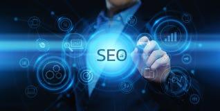 SEO Search Engine Optimization Marketing die van Bedrijfs Internet van de Verkeerswebsite Technologieconcept rangschikken vector illustratie