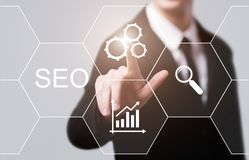 SEO Search Engine Optimization Marketing-Klassifizierungs-Verkehrs-Website-Internet-Geschäfts-Technologie-Konzept Lizenzfreie Stockfotografie