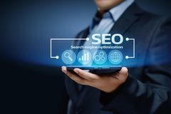 SEO Search Engine Optimization Marketing-Klassifizierungs-Verkehrs-Website-Internet-Geschäfts-Technologie-Konzept Lizenzfreies Stockfoto