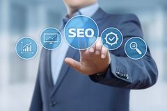 SEO Search Engine Optimization Marketing-Klassifizierungs-Verkehrs-Website-Internet-Geschäfts-Technologie-Konzept Lizenzfreie Stockfotos