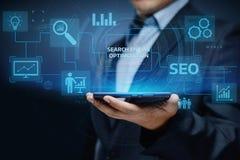 SEO Search Engine Optimization Marketing-Klassifizierungs-Verkehrs-Website-Internet-Geschäfts-Technologie-Konzept Stockbild