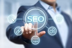 SEO Search Engine Optimization Marketing-Klassifizierungs-Verkehrs-Website-Internet-Geschäfts-Technologie-Konzept Lizenzfreies Stockbild