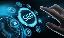 SEO Search Engine Optimization Marketing-Klassifizierungs-Verkehrs-Website-Internet-Geschäfts-Technologie-Konzept stockfoto