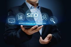 SEO Search Engine Optimization Marketing Ranking Traffic Website Internet Business Technology Concept.  royalty free stock photo