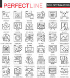 SEO Search Engine Optimization outline concept symbols. Perfect thin line icons. Modern stroke linear style vector illustration