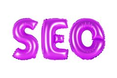 Seo, search engine optimization, purple color. Purple alphabet balloons, SEO, search engine optimization, purple number and letter balloon Royalty Free Stock Photos
