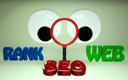 SEO Search Engine Optimization Rank HD. Big Eyes looking through magnifying glass seo rank web words in HD Royalty Free Stock Image