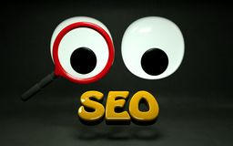 SEO Search Engine Optimization Rank HD. Big Eyes looking through magnifying glass SEO  words in HD 3D modeled Stock Photos