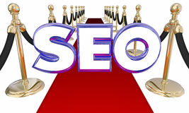 SEO Search Engine Optimization Red-Teppich Stockfotos