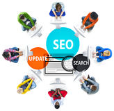 SEO Search Engine Optimization Searching-Concept stock afbeelding