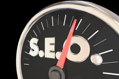SEO Search Engine Optimization Speedometer nivåhastighet Royaltyfria Bilder