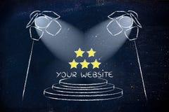 SEO, search engine optimization, spotlight design. Conceptual spotlight illustration about search engine optimization Royalty Free Stock Photos