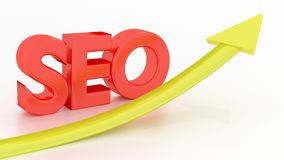 SEO Search engine optimization success concept. Red letters SEO on white floor and a yellow arrow going up search engine optimization 3D illustration Royalty Free Stock Photography