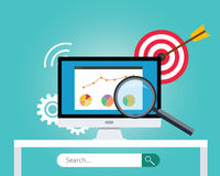Seo search engine optimization. Target business chart graph royalty free illustration