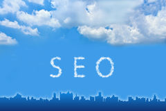 SEO or Search engine optimization text on cloud Royalty Free Stock Photo