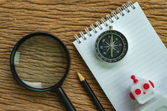 SEO search engine optimization website analysis concept with pen. Cil, compass, robot and magnifying glass stock photos