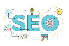 SEO : Search engine optimization. Word lettering design illustration with line icons and ornaments in blue theme Royalty Free Stock Photo
