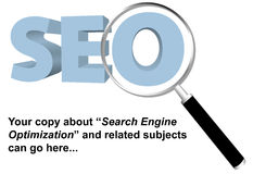 SEO search engine optimized magnifying glass. SEO and Magnifying Glass Background for your copy on Search Engine Optimization, keywords, website searches, and Stock Images