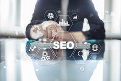 SEO Search-Maschinenoptimierung, Digital-Marketing, Geschäftsinternet-Technologiekonzept lizenzfreie abbildung