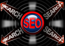 Seo search red arrows - Search engine optimization. Illustration with icon SEO, 4 red arrows and written search Stock Photography