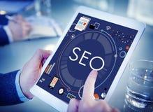 SEO Search Technology Business Webpage-Konzept Stockbild