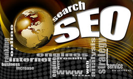 SEO search world background. Background seo - search engine optimization web, word cloud and world Stock Photos