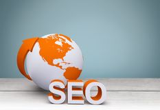 Seo. Searching engine optimization internet globe www royalty free illustration