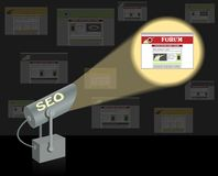 SEO-searchlight. Search optimization concept. Stock Images