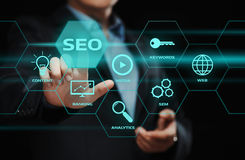 SEO SEM Search Engine Optimization Marketing Ranking Traffic Website Internet Business Technology Concept. Businessman pressing button. SEO SEM Search Engine stock photos