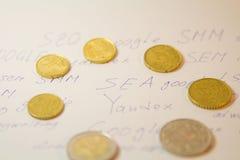 SEO, SEM, SMM no yandex e Google Imagem de Stock Royalty Free