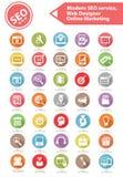 SEO Service moderno, diseñador web y sistema en línea del icono del márketing Fotos de archivo