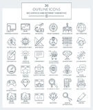 SEO-service och internetmarknadsföringssymboler royaltyfria foton