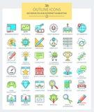 SEO-service och internetmarknadsföringssymboler (färg) Arkivbilder