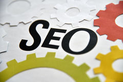 SEO services concept for web banner. Stock Photo
