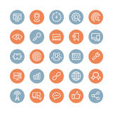 SEO services flat icons set. Flat line icons modern design style vector set of seo service symbols, website search engine optimization, web analytics and