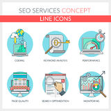 SEO Services. Set of color line concept icons for seo, seo optimization, web development, web optimization, programming, coding Royalty Free Stock Image