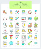 SEO services and WEB Development (Color). Set of modern thin line icons for Web development, SEO, App development, WEB optimization, Internet security. Use them Royalty Free Stock Image